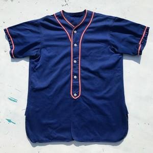 50's UNKNOWN コットンベースボールシャツ WAPAK BLUE JAYS ブルー セットインスリーブ マチ付き 猫目ボタン 美品 L位 希少 ヴィンテージ