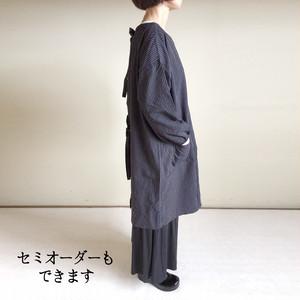 亀田縞 男女で着る後ろヒモ2WAYかっぽう着(黒ヒッコリー)kamedajima 2way string kappo-gi
