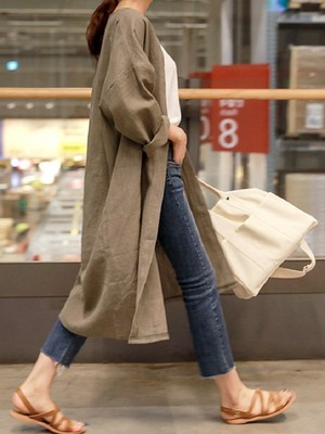 【outer】Casual long section small attraction cardigan