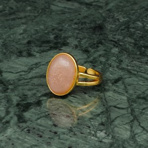 OVAL BIG STONE RING GOLD 015
