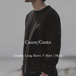 Cuore/Gusto  Graphic Long Sleeve T-Shirt / Black