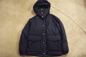 USED 美品 スノーライオン 中綿ナイロンジャケットフード付き S ネイビー×グリーン Snow Lion