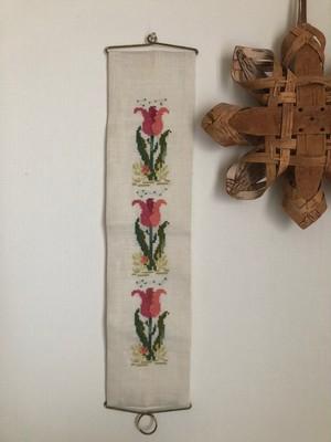 北欧  チューリップの刺繍タペストリー ヴィンテージ