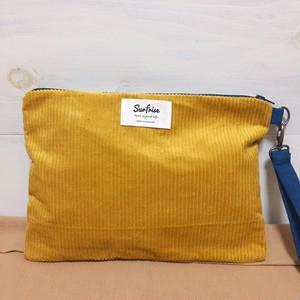 【受注生産】Corduroy clutch bag -  Yellow ※発送はお支払後2~3週間程度