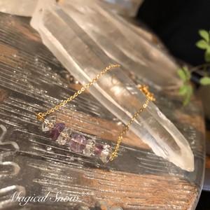 夏にオススメ♪ラベンダーアメジストと水晶のアンクレット