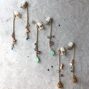 【LE-15BR】Natural stone long earring  Aブルートパーズ Bクリソプレーズ C ルチルクォーツ