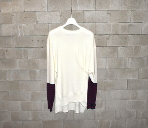 Rokh Striped-accented Wool Knit Sweater