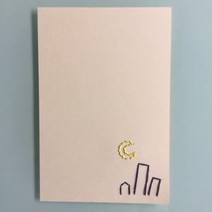 刺繍ポストカード(夜の街)