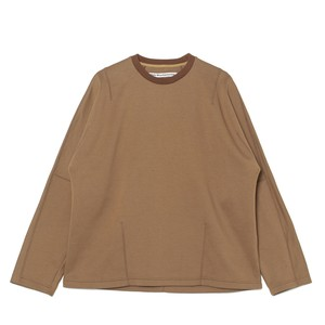 DARTED LONG SLEEVES T-SHIRT - BROWN