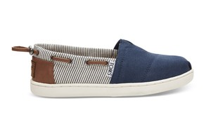 TOMS / NAVY CANVAS STRIPES YOUTH BIMINIS