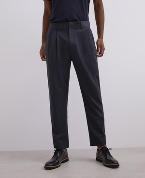 LYOCELL AND COTTON TWILL TROUSERS [168011135102]