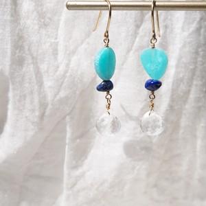 Sea gradation pierced earring