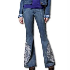 刺繍 デニム ワイド パンツ Z417