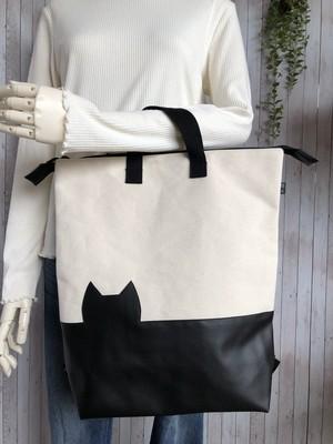 黒猫トートリュック【オフホワイト頒布×レザー】