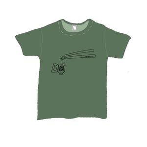 「タカハシ(箸)でつまみたい!納豆びよーん君Tシャツ」(カーキ)