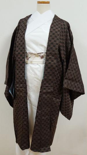 黒に茶の模様 アンティーク羽織