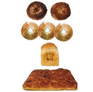 パリニーアマンシュークリーム 2個×抹茶大納言ベーグル3個×ざぶとんフォカッチャ1個×もり山食パンミニ 1個