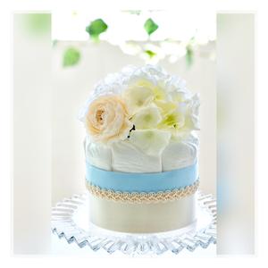 出産祝い・安産祈願に♡おむつケーキ ショートブーケ(ブルー)オムツケーキ