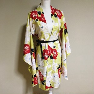 Vintage Long HAORI Cotton  Yellow ×Red White TSUBAKI【HA03】