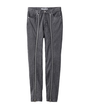 JOHN LAWRENCE SULLIVAN ZIP DENIM PANTS GREY