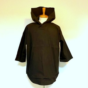 Stretch Cotton Pullover Parka Black