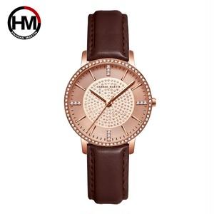 ステンレス鋼ストラップ日本運動ローズゴールドダイヤモンド女性ラインストーン腕時計女性クォーツ時計1074PZ2