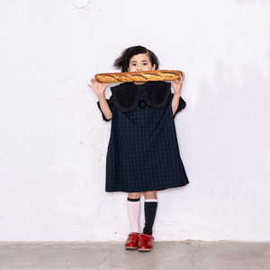 BONBON CUT JQ CIRCLE SLEEVES CHECK DRESS / S - L