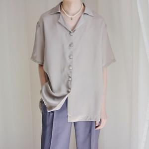 satin open collar shirt / dusty silver