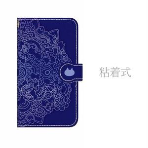 Android用ネコタングル navy 手帳型マルチスマホケース
