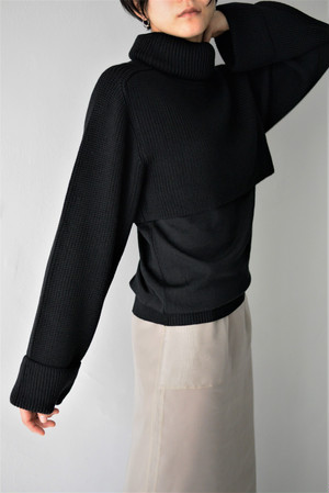 ROOM211 / High Neck Layered Knit (black)
