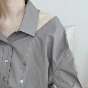 3色/カラーオープンショルダー2wayシャツ ・2450