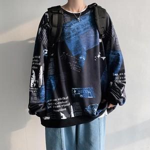 【メンズファッション】カジュアルラウンドネックプリントアルファベットプルオーバーパーカー41595436