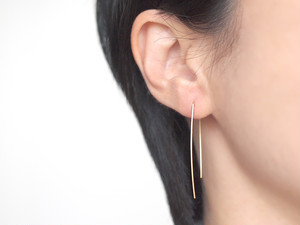 14KGF Square Wire Earrings / Curve