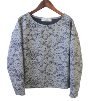 flower lace quilt jacquard tops / gray
