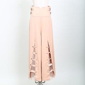 Belt Tulle Wide Pants