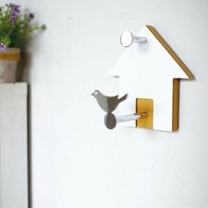 ≫未使用保管品*バードハウスウォールフック*木製×アイアン*かわいい小鳥と鳥小屋デザイン壁掛けハンガーフック*インテリアナチュラル自然