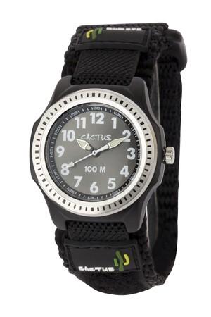 [キッズ腕時計 ボーイズデザイン]オールブラック ベルクロ仕様 10気圧防水 CAC-45-M01