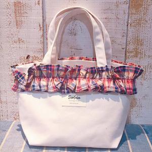 【受注生産】Fluffy bag - White/Check ※発送はお支払後2〜3週間程度