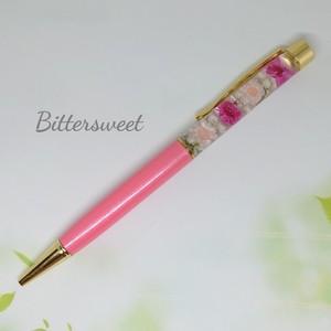 ハーバリウムボールペン《マルセラ・スターフラワー・ライスフラワー》【ピンク】★カワイイ★