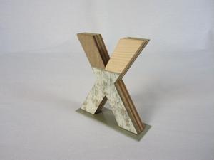 切り文字 X (木のパッチワーク)