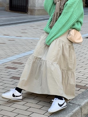 【50%OFF SALE】cotton tiered skirt / beige  (即納)