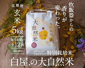 【定期購入/1ヶ月毎】大自然米【玄米】5kg x 12回(1年間)10%お得!