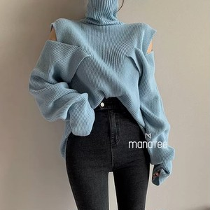 design high neck knit 2color