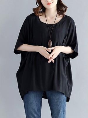 【tops】Simple design women's new loose T-shirt
