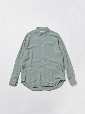 UNDECORATED TROPICAL WASHED OUT L/S SHIRT Ice Green UDS20202