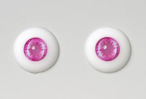 Silicone eye - 19mm Hydrangea Rose with Shiny Pale Rose Pupils