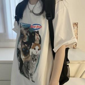 キュートキャットフォトプリントTシャツ S4268