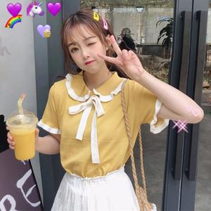 【トップス】日系レトロリボンニット短袖Tシャツ