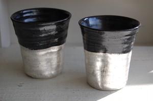 黒釉銀彩ロックグラス