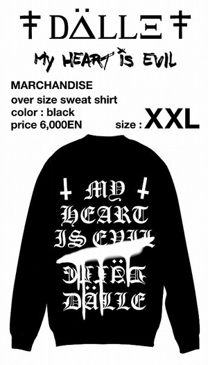 "over size sweat shirt ""My HEART is EVIL""<XXL>"